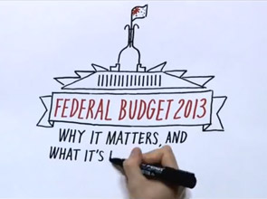 A hand draws parliament house, with the label Federal Budget 2013