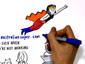Super woman flies through the air whilst being drawn