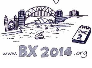 An illustration of the Sydney Harbour Bridge, with the URL www.bx2014.org